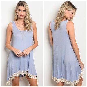 Preorder Pale Blue Waffle Knit Lace Hem Tank Dress